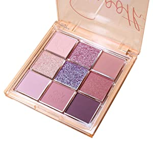 ONLYBETTER Purple Eyeshadow Palette High Pigmented Makeup Palette Easy to Blend Color Fusion 9 Shades Metallic and Shimmers Long Lasting Sweatproof and Waterproof Bright Eyeshadow Palette
