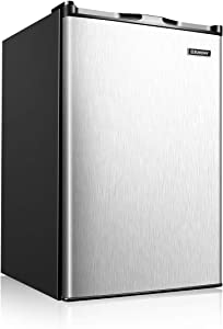 Euhomy Upright Freezer, Energy Star 3.0 Cubic Feet,Compact Single Door Freezer with Reversible Stainless Steel Door,Mini Freezer for Home/Dorms/Apartment/Office(Sliver)