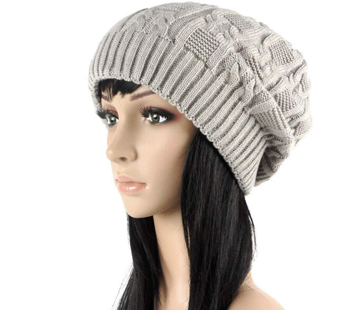 Fashion Women Knitted Cap Warm Stripes Design Solid Color Winter Hat