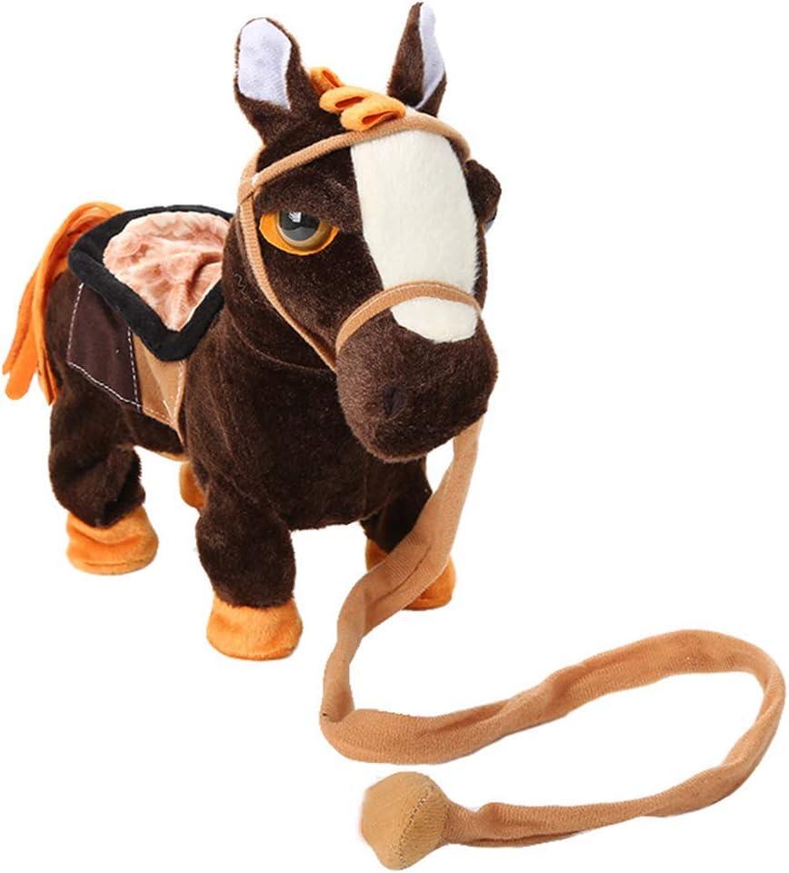 Juguete de peluche de caballo eléctrico para niños,KKPLZZ Juguete de peluche de caballo eléctrico para niños Bailando Canto Caballo interactivo para mascotas Caballo que camina con juguetes de correa
