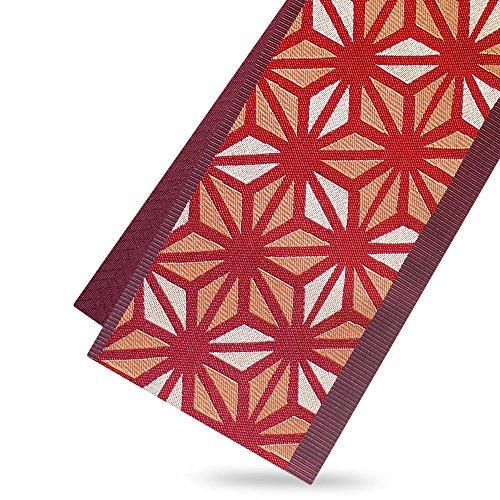科学者指紋用心する市田ひろみ 半巾帯 レトロ古典柄赤 麻の葉 矢絣
