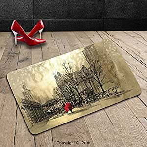 Custom lavable Felpudo (apartamento decoración amor par caminar en las calles de la ciudad en día lluvioso Romance Dramático paisaje urbano en la Sepia interior/al aire libre Felpudo alfombra alfombra alfombra