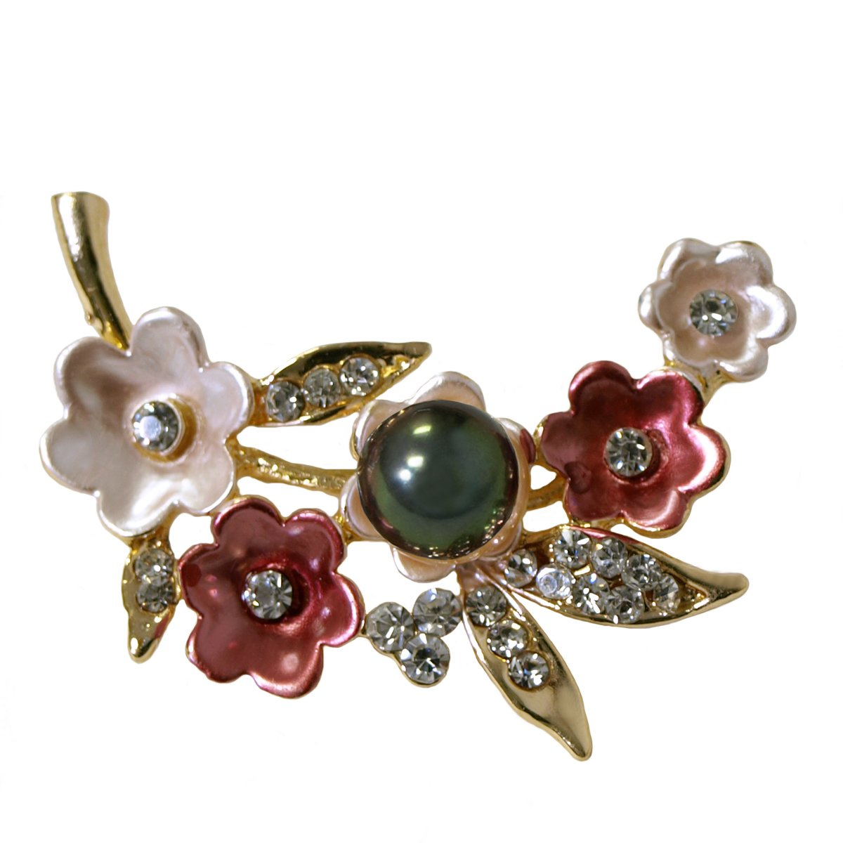 Cherry Blossoms Faux Pearl and Rhinestone Brooch - Multi-Color