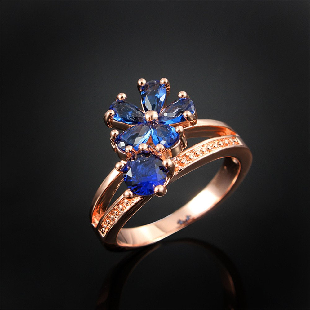 Women's Stacking Ring Pave Cubic Zircon Eternity Promise Ring Flower Top Infinity Wedding Band by 17maimeng (Image #2)