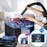 VICOODA Under Bed Organizer, Zippered Storage Bag Organizers with a Vacuum Storage Bag for Clothes, Comforter, Blanket, Heavy Fabric Space Saver, Clear Window and Pocket for Labels, 42L, Black