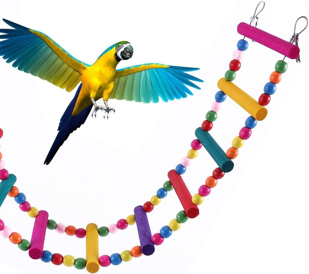 New_Soul - Escalera de madera para pájaros, 12 peldaños, puente de balancín para pájaros, loro, periquitos y cacatúas, 78,74 cm: Amazon.es: Productos para mascotas