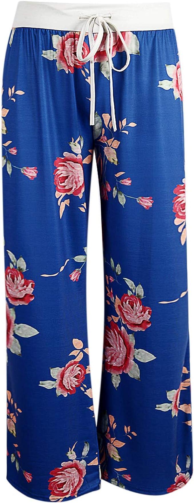 LAEMILIA/Damen Palazzo Blumen Lange Pumphose Sommer Schlafanzughose High Waist Breites Bein Locker Pluderhose