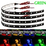 neon car lights exterior - EverBright 4-Pack Green 30CM 5050 12-SMD DC 12V Flexible LED Strip Light Waterproof Car Motorcycles Decoration Light Interior Exterior Bulbs Vehicle DRL Day Running with built-in 3M Tape