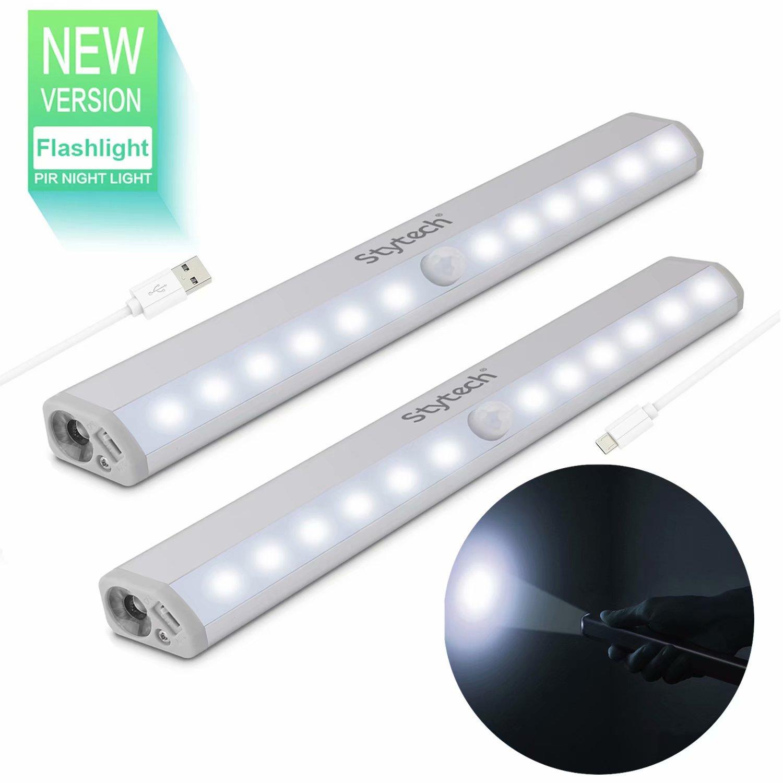 Motion Sensor Closet Light,Cabinet Light Stick-on Anywhere 12 LED Wardrobe/Stairs/Step Light Bar,LED Night Light, USB Rechargeable Safe Lights
