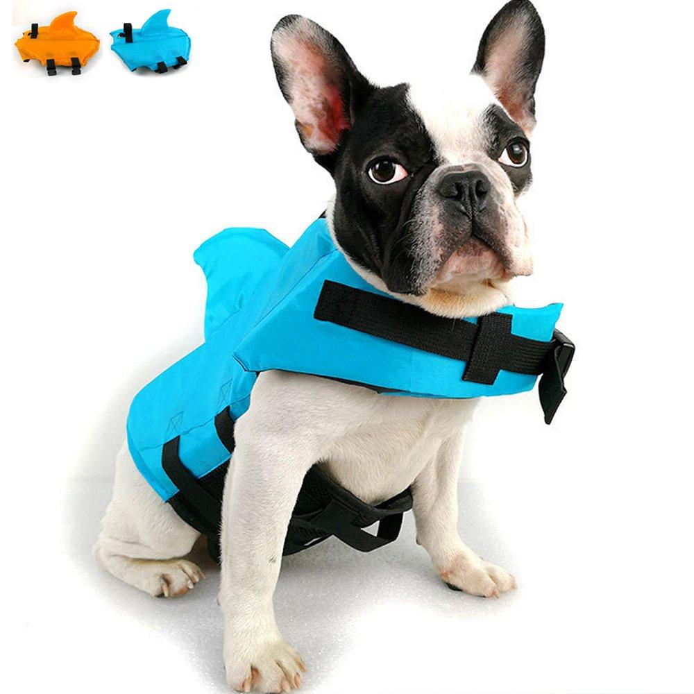 Snik-S Dog Life Jacket- Preserver with Adjustable Belt, Pet Swimming Shark Jacket for Short Nose Dog,Upgrade Version (Pug,Bulldog,Poodle,Bull Terrier) (M, Blue) by Snik-S