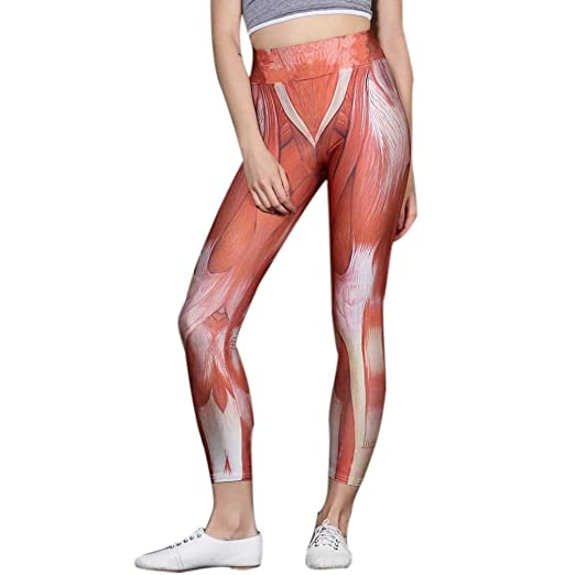 31fb2c8fc0fe8 Elogoog Workout Capris - High Waisted Workout Gym Running Fitness Leggings  For Women - Muscle Printed