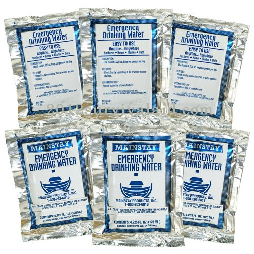 Emergency Water Pack -3 Day Survival Rations (6x4.2oz. Pouches) 5 Year Shelf Life USCG Approved