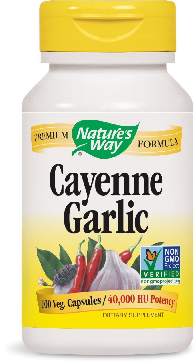 Nature's Way Cayenne Garlic, 40,000 HU Potency, 100 Vegetarian Capsules, Pack of 2