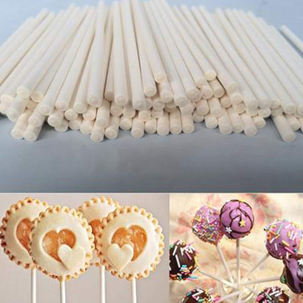 B/âtonnets pour Artisanat Cake Pops Sucettes 100Pcs Alimentaire Tiges Sucette Fabrication Solide Papier Aavbr Papier B/âtons