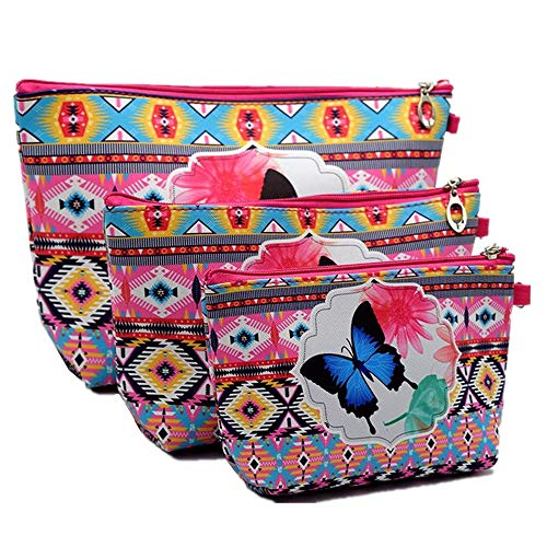 XICHEN 3 PCS cosmetic bag waterproof cosmetic bag large capacity pu leather, Bathroom, Storage (3 Sizes) (Butterfly pattern) -