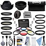 Opteka 55mm Professional Solid and Graduated Filter Accessory Bundle with 5pc Filter kit (UV-CPL-FL-ND4-10x), 4pc Macro Lens Set (+1,+2,+4,10x), Tulip & Rubber Lens Hoods + Cleaning kit and More