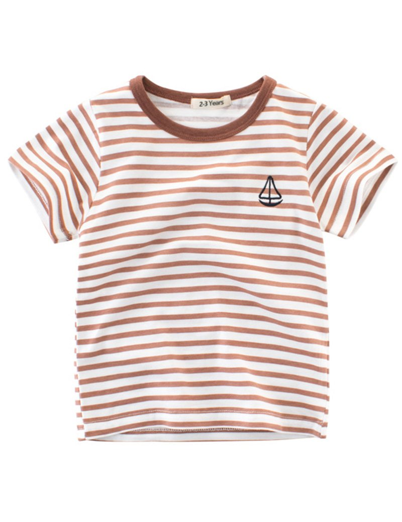 BesserBay Little Boys Summer Cotton Tee Short Sleeve T Shirts Striped Casual Tshirts 3-4