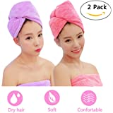 ADOGO Dry Hair Towel 2 Pack,Microfiber Towel Cap Twist Wrap Absorbent Quickly Dry Hair Turban for Kids and Women (Pink+Purple)