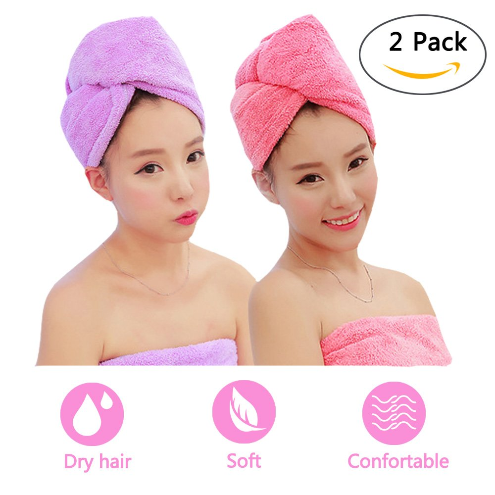ADOGO Hair Towels Wrap 2 Pack, Microfiber Hair Towel Twist Cap Soft Absorbent Quickly Dry Hair Turban for Kids and Women (Pink+Purple)