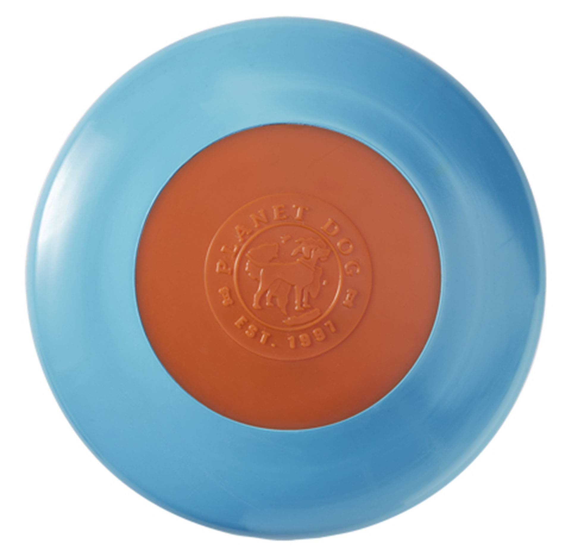 Planet Dog Orbee Tuff Zoom Flyer Interactive Fetch Dog Toy, 100% Guaranteed, Made in the USA, Large 9.5'', Blue and Orange