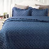 "Bedsure Flowers Quilts Diamond Stitching Coverlet Set Full/Queen Size (90""x96"") 3-Piece Bed Cover Small Flora and Leaves Dark Blue Patchwork Bedspread Lightweight Hypoallergenic Microfiber Design"