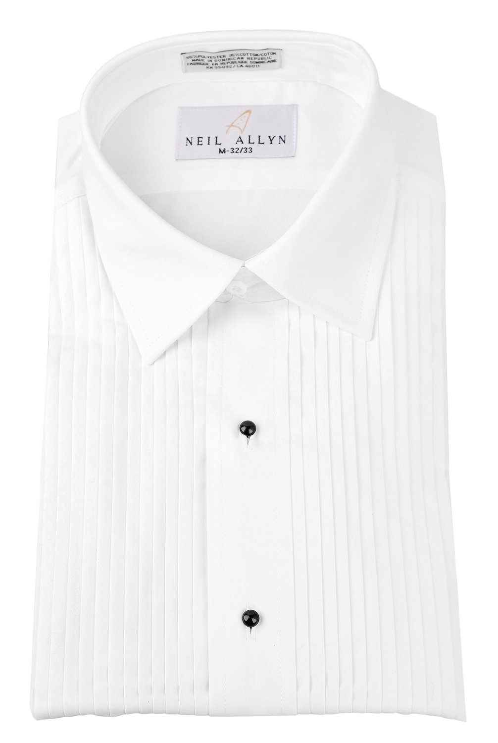 Neil Allyn 1/4'' Pintuck (Pleat) Laydown Collar Convertible Front and Cuff Shirt,White,X-Large(17 X 34-35)White by Neil Allyn