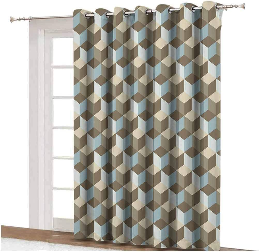 Checkered Sliding Door Curtain Diagonal Striped Design with Delicate Gentle Flower Figures Feminine Decorative Thermal Backing Sliding Glass Door Drape Single Panel 100x84 inch,for Sliding Door Mauve