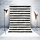 5ft(W)x7(H) Mother's Day Backgrounds Black and White Stripes Gold Dots Microfiber Wedding Photo Backdrop Studio Props