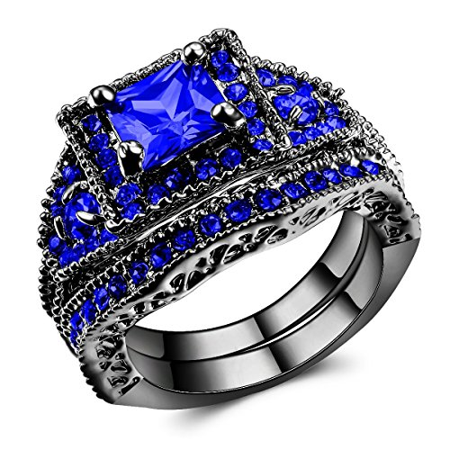 14k Black Gold Plated and Created Blue Sapphire Engagement Bridal
