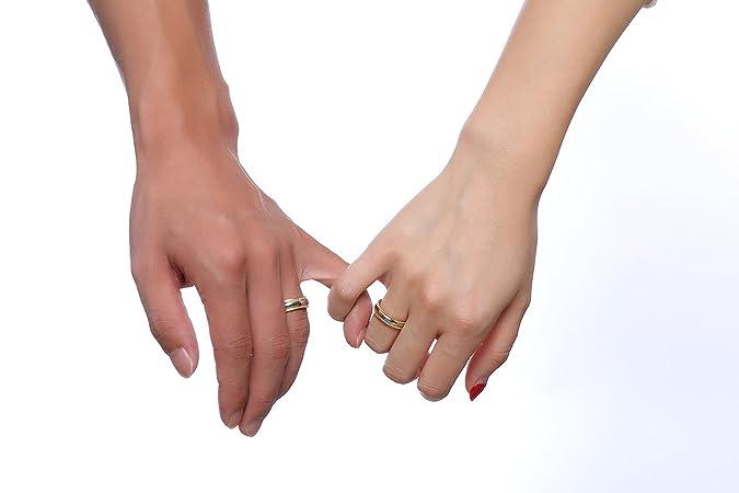 KNSAM - Anillos de amistad de acero inoxidable para él y ella, anillos de oro Anillos de boda Mujer 12 & Hombre 20: Amazon.es: Joyería