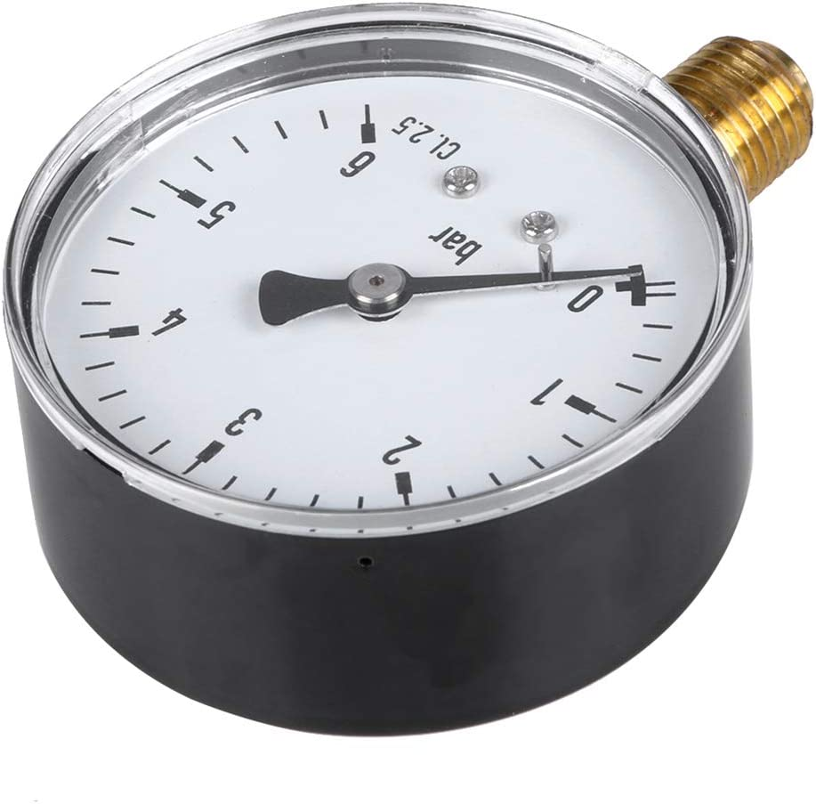 Qiman 0-6 Bar Manometer Wasser Gas Luftdruckverdichter 1//4  NPT Seitenmontage
