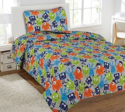Twin Green Monster Printed Quilt Bedding Bedspread Coverlet Pillow Case 2Pc (Monster Bedspread High)