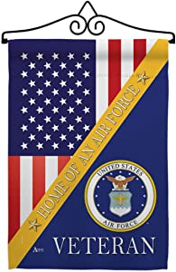 Home of Air Force Garden Flag - Set Wall Hanger Armed Forces USAF United State American Military Veteran Retire Official - House Decoration Banner Small Yard Gift Double-Sided Made in USA 13 X 18.5