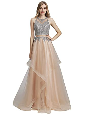 6035cb687e9f Sarahbridal Women's Prom Dress with Gold Lace Applique Long Formal Pageants  Evening Gowns Nude US2