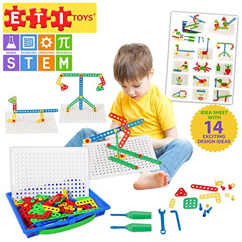 ETI Toys | STEM Learning | 92 Piece Kit of Screws; Build Giraffe Car, Crab, Flower Plant and More! 100% Non-Toxic, Fun, Creative Skills Development! Best Gift, Toy for 3, ()