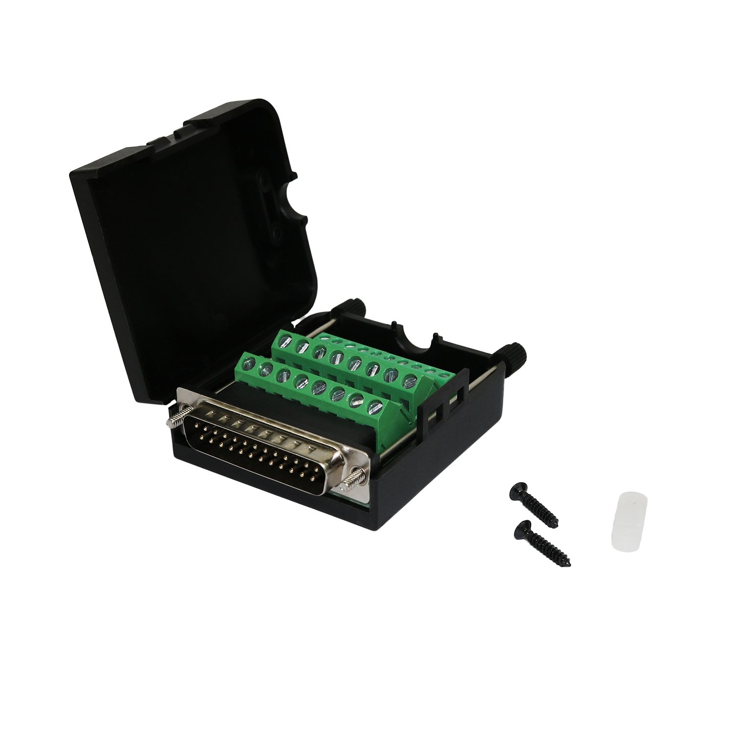 Twinkle Bay DB25 Connector to Wiring Terminal Db25 Breakout Board Solder-free (Male Adapter with Case)