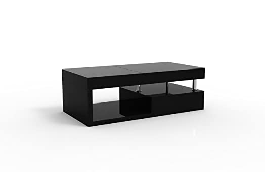 ModaNuvo U0027Hopeu0027 Full Black Gloss Extending Storage Coffee Table With Drawer  (Black Gloss