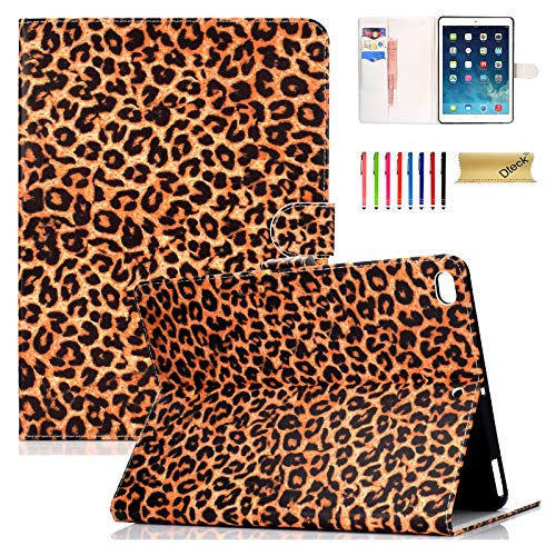 (Dteck Case for Apple iPad 9.7 Inch 2018/2017(iPad 5th/6th)/iPad Air/Air 2 Tablet - PU Leather Folio Stand Smart Cover w/Auto Wake/Sleep for Apple iPad 2017/2018, iPad Air 1 2 - Yellow Leopard Print)