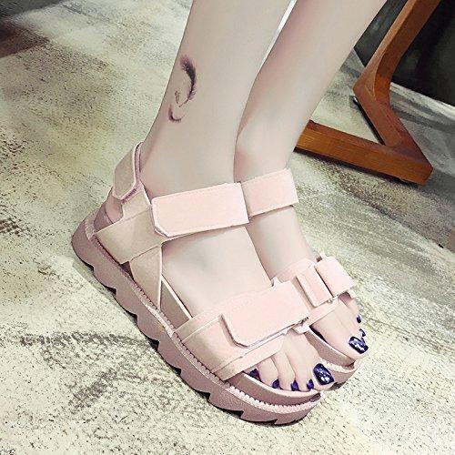 RUGAI-UE Sandalias planas de verano ocio Zapatos de punta plana Pink