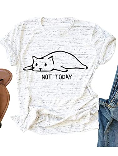 Womens Graphic Tees Cute Funny T Shirts Short Sleeve Cotton T-Shirts Autumn Winter Tops White L