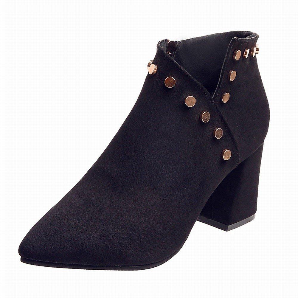 DHG Add Samtspitze Einzelne Herbst Schuhe High Heels Wildleder Seite mit Einem Niet V-Seite Reißverschluss Schuhe Schwarz 38