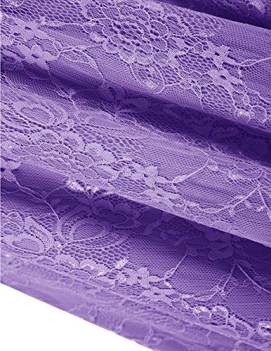 DRESSTELLS Women's Bridesmaid Dress Retro Lace Swing Party Dresses with Cap-Sleeves Purple S by DRESSTELLS (Image #5)