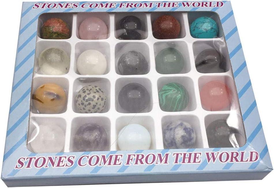 LQKYWNA 20pcs Natural Rocas Set, 20cm De Pulido De Las Piedras Preciosas Alrededor De La Colección Educación Mineral De Piedra Decorativa Mundial