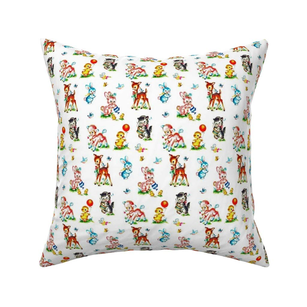 Amazon.com: Retro Baby Animals Linen Cotton Throw Pillow ...