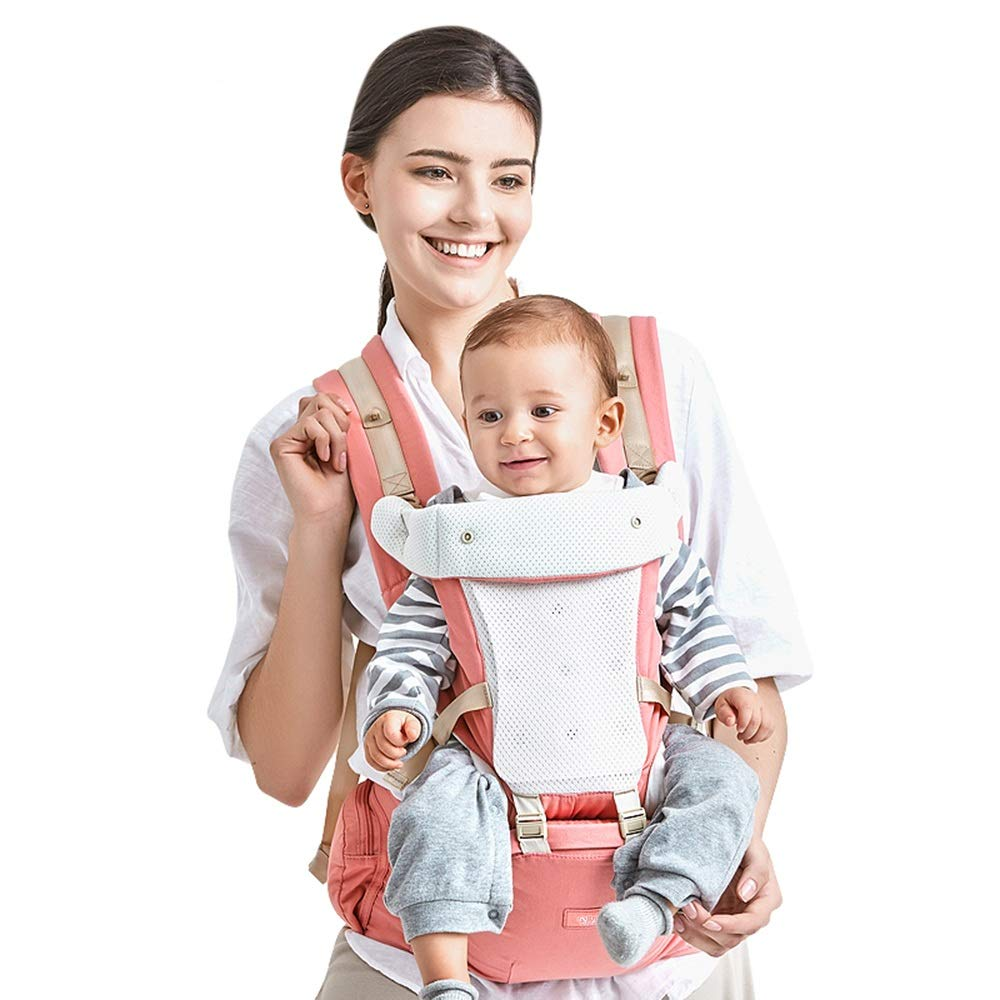 Kidshome 4 in 1 Baby Carrier Hipseat Ergonomic Front Facing Infant Sling Backpack Detachable 4 safe and comfortable positions Suitable for 0-3 years old baby (pink)