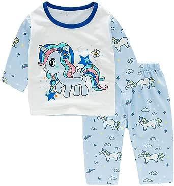 Pijamas Unicornio Niña Conjunto Ropa Casual Chica Algodón Manga ...