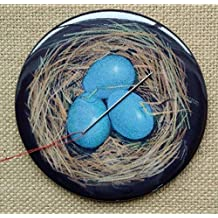 "Bird's Nest, Eggs, Magnetic""Pin Cushion"" or Fridge Magnet, 3.5"", From Color Pencil Art"