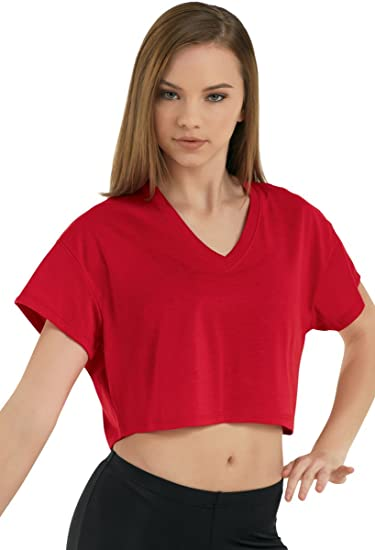 71e7db87e1cc Amazon.com: Balera T-Shirt Girls Crop Tee For Dance Cropped V-Neck Shirt Top  Red Child Large: Clothing