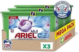 Ariel Pods Allin1 Detergente en Cápsulas para Lavadora, Efecto Suavizante, 129 Lavados (3 x 43)