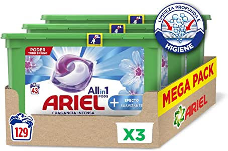 Ariel Allin1 Pods Suavizante - Detergente en cápsulas para la lavadora, efecto suavizante, 129 lavados (3 x 43)
